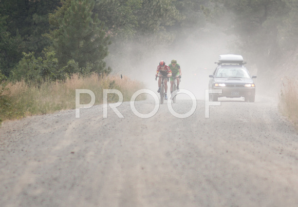 Gage Hecht and Calder Wood on the final gravel KOM climb